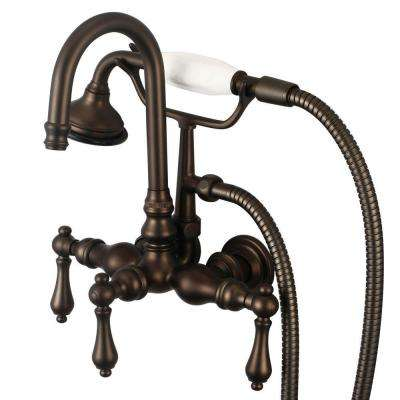 3-Handle Vintage Claw Foot Tub Faucet with Hand Shower and Lever Handles in Oil Rubbed Bronze