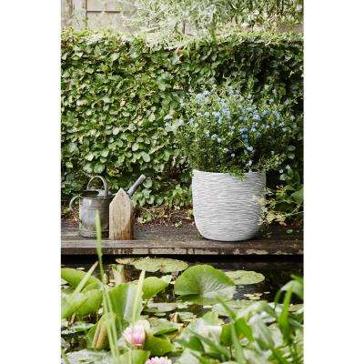 17 in. x 17 in. x 16.14 in. Ivory Polyurethane Ribbed Egg Planter