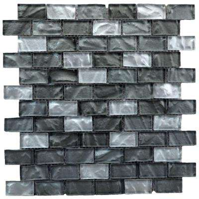 Upscale Designs Mesh-Mounted Glass Mosaic Wall Tile - 3 in. x 12 in. Tile Sample
