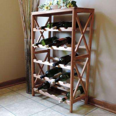 25-Bottle Brown Floor Wine Rack