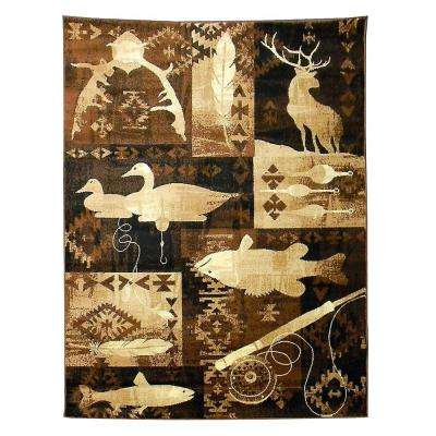 Lodge Fish and Deer Brown 5 ft. x 7 ft. Indoor Area Rug