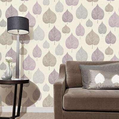 56.4 sq. ft. Quest Plum Leaf Wallpaper