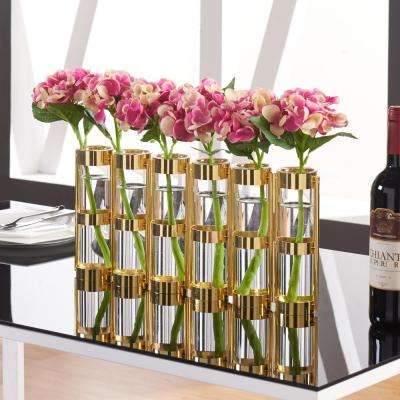 9 in. H. Glass Decorative Vase -Tube Hinged Vases on Rings Stands Metallic Gold