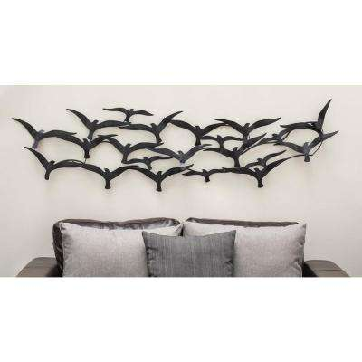 68 in. x 17 in. Contemporary Flock of Birds Wall Decor in Matte Black