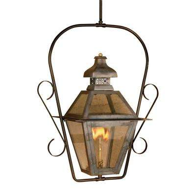 Bayou 30 in. Outdoor Washed Pewter Gas Ceiling Lantern