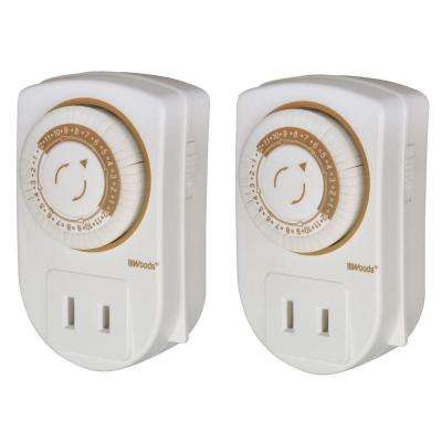 Indoor Mechanical Mini Timer with 24-Hour Settings (2-Pack) - White