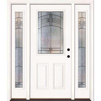 Feather River Doors 67.5 in. x 81.625 in. Rochester Patina 1/2 Lite Unfinished Smooth Left-Hand Fiberglass Prehung Front Door with Sidelites Feather River Doors