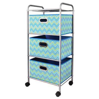 Mini 3 Drawer Cart in Cheveron Blue and Gray