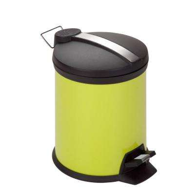 5 l Lime Green Round Metal Step-On Touchless Trash Can