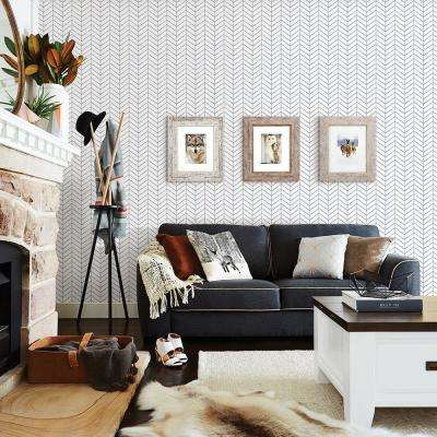 56.4 sq. ft. Bison Navy Herringbone Wallpaper