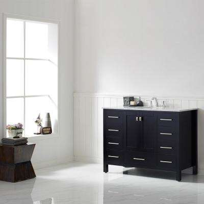 Gela 48 in. W x 22 in. D Bath Vanity in Black with Marble Vanity Top in White with White Basin, Faucet and Mirror