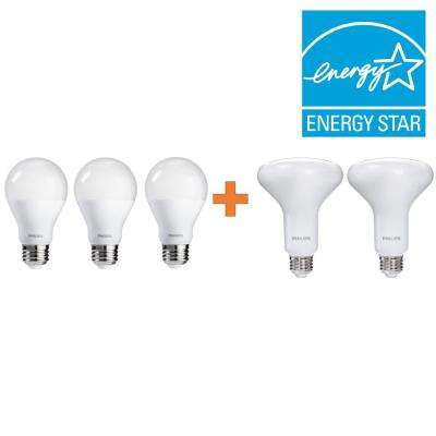 65W Equivalence Soft White Multi-Application BR30 and A19 Light Bulb LED Value Pack