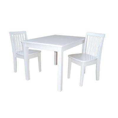 25 in. W x 32 in. D x 22.5 in. H Solid Wood Juvenile Table in White with 2 Mission Chairs