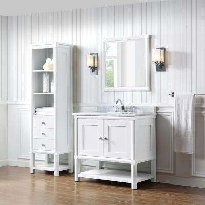 Sutton 36 in. W x 22 in. D Vanity in Bright White with Marble Vanity Top in White/Grey with White Basin