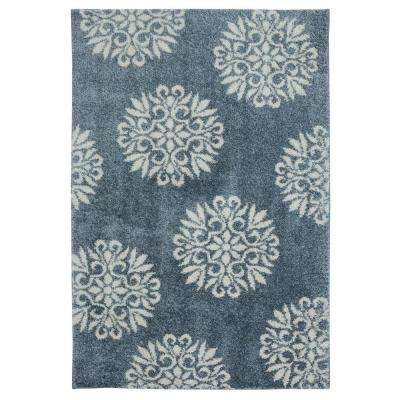 Exploded Medallions Blue Woven 3 ft. 4 in. x 5 ft. 6 in. Area Rug