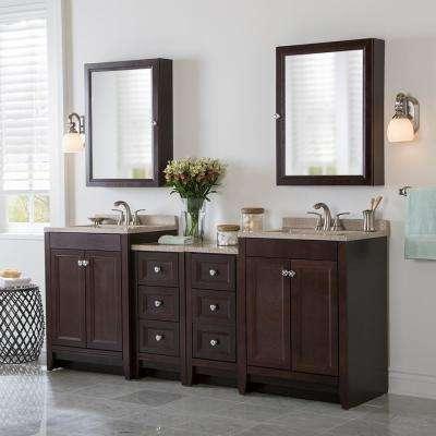 Delridge Bath Suite with 2 - 24 in. W Bath Vanities with Vanity tops, and 2 Linen Towers in Chocolate