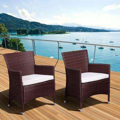 Liberty Deluxe Brown All-Weather Wicker Patio Armchair with Off-White Cushions (2-Set)