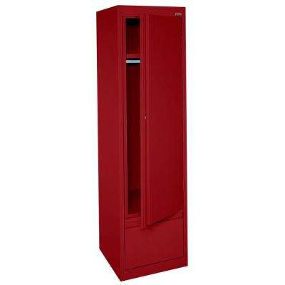System Series 17 in. W x 64 in. H x 18 in. D Single Door Wardrobe Cabinet with File Drawer in Red