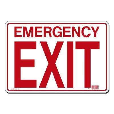 14 in. x 10 in. Red on White Plastic Emergency Exit Sign