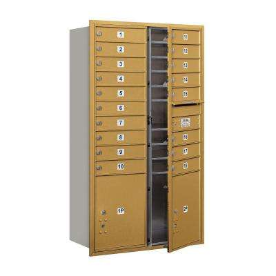 55 in. 15 Door High Unit Gold Private Front Loading 4C Horizontal Mailbox with 18 MB1 Doors/2 PL5's