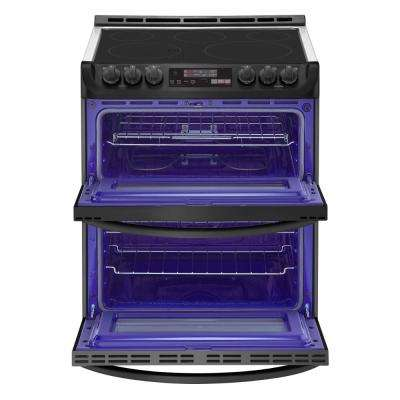 7.3 cu. ft. Smart Double Oven Electric Range, Self-Cleaning, Convection and Wi-Fi in Matte Black Stainless Steel