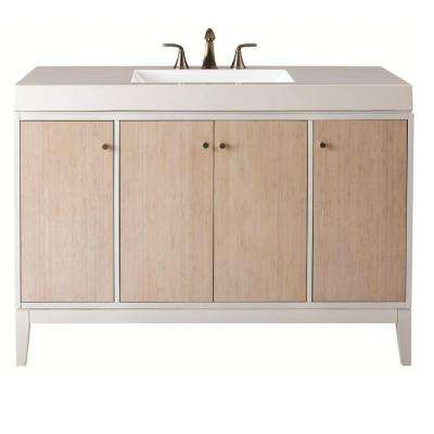 Melbourne 49 in. W x 35 in. H Vanity in White with Marble Vanity Top in White with White Basin