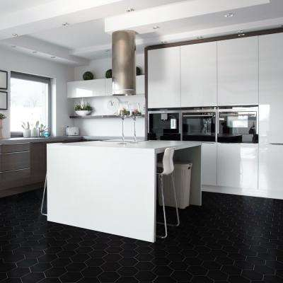 Metro Super Hex Glossy Black 10 in. x 11-1/2 in. x 6 mm Porcelain Mosaic Tile (8.17 sq. ft. / case)