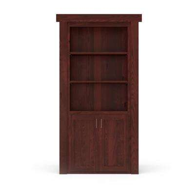 32 in. x 80 in. Flush Mount Assembled Laundry Door Alder Cherry Stained Right-Hand Outswing