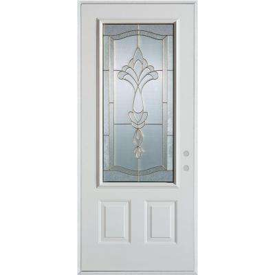 32 in. x 80 in. Traditional Patina 3/4 Lite 2-Panel Painted White Left-Hand Inswing Steel Prehung Front Door