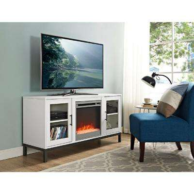 52 in. Avenue Wood Fireplace TV Console with Metal Legs in White