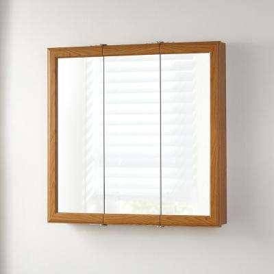 30-1/4 in. W x 29 in. H Fog Free Framed Surface-Mount Tri-View Bathroom Medicine Cabinet in Oak