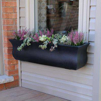 Self-Watering Valencia 3 ft. Black Polyethylene Window Box