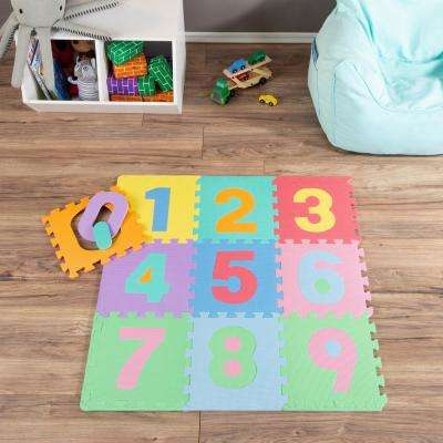Multi-Colored 12.5 in. x 12.5 in. Interlocking EVA Foam Numbered Puzzle Mat Set (10-Pack)