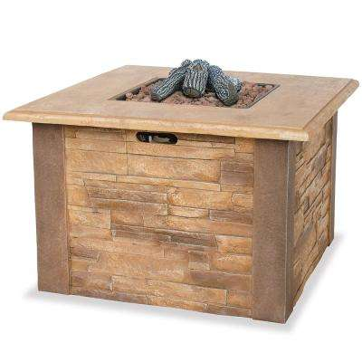 36 in. W x 36 in. D Faux Stacked Stone Mantel LP Gas Fire Pit with Electronic Ignition and Lava Rocks