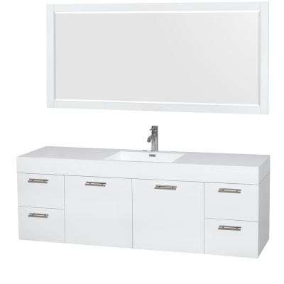 Amare 72 in. Vanity in Glossy White with Acrylic-Resin Vanity Top in White, Integrated Sinks and 70 in. Mirror