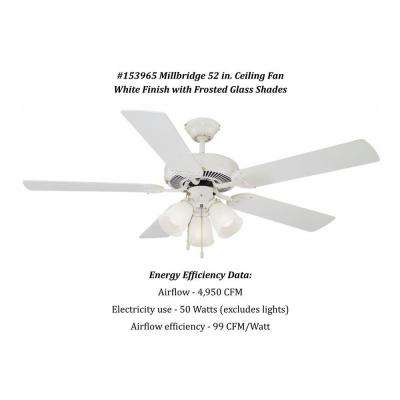 Millbridge 52 in. White Ceiling Fan