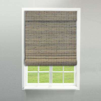 Driftwood Cordless Flat Weave Bamboo Roman Shade - 30 in. W x 64 in. L