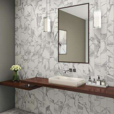 Silhouette Calacatta 4-1/4 in. x 12-3/4 in. Ceramic Wall Tile (15.15 sq. ft. / case)