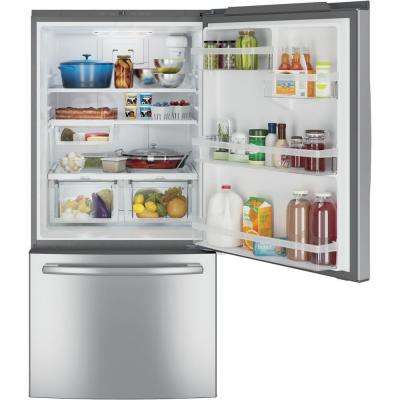 33 in. W 24.9 cu. ft. Bottom Freezer Refrigerator in Stainless Steel