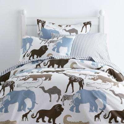 Animal Safari 200-Thread Count Cotton Percale Duvet Cover