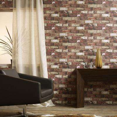 56 sq. ft. Brick Red Wallpaper
