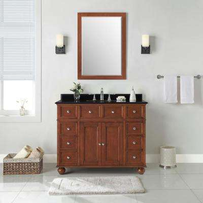 Hampton Harbor 44 in. W x 22 in. D in Sequoia Bath Vanity with  Granite Vanity Top in Black with White Sink