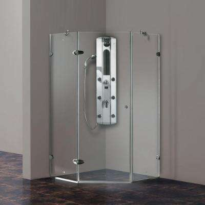 Verona 38.125 in. x 73.375 in. Frameless Neo-Angle Shower Enclosure in Chrome with Clear Glass