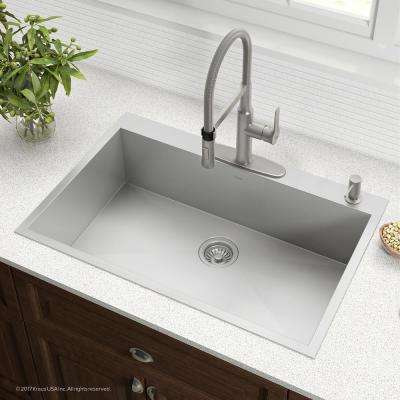 Pax Series Drop-in Stainless Steel 33 in. 4-Hole Single Bowl Kitchen Sink