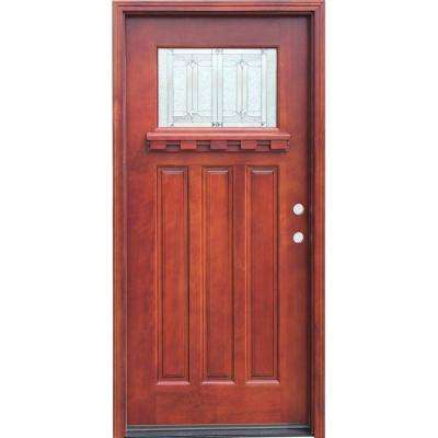 Craftsman 1 Lite Stained Mahogany Wood Prehung Front Door with Dentil Shelf 6 in. Wall Series