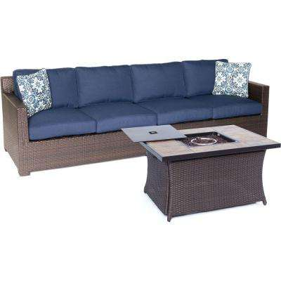 Metropolitan Brown 3-Piece All-Weather Wicker Patio Fire Pit Sofa Seating Set with Navy Blue Cushions