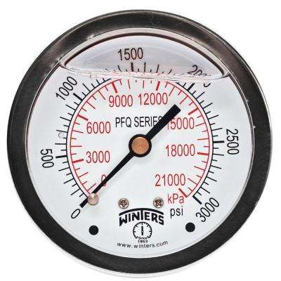 PFQ Series 2.5 in. Stainless Steel Liquid Filled Case Pressure Gauge with 1/4 in. NPT CBM and Range of 0-3000 psi/kPa