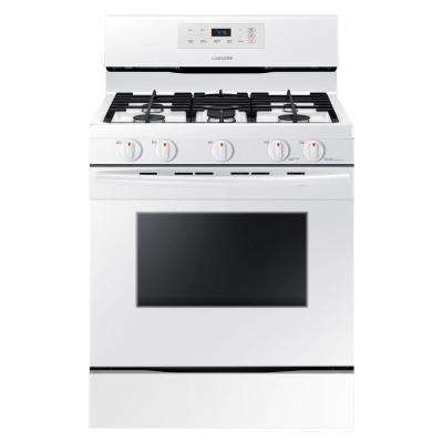 30 in. 5.8 cu. ft. Single Oven Gas Range Clean Oven in White