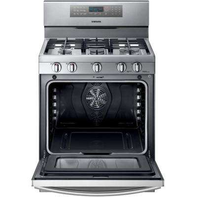 30 in. 5.8 cu. ft. Gas Range with Self-Cleaning Convection Oven and 5 Burner Cooktop in Stainless Steel