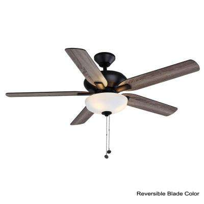 Holly Springs 52 in. LED Matte Black Smart Ceiling Fan with Light and Remote Works with Google Assistant and Alexa